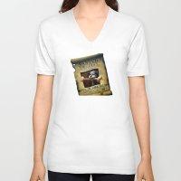 monkey island V-neck T-shirts featuring Monkey Island - WANTED! Spiffy, the Scumm Bar dog by Sberla