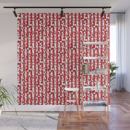 Nautical Beach Lifebelts on Red and White Stripes Wall Mural