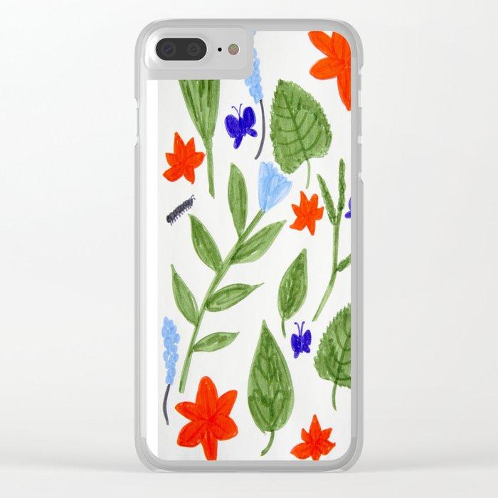 Caterpillars Floral Art Clear iPhone Case