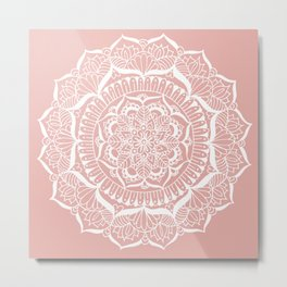 White Flower Mandala on Rose Gold Metal Print