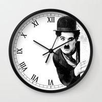 chaplin Wall Clocks featuring MR CHAPLIN by John Medbury (LAZY J Studios)