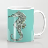 seahorse Mugs featuring Seahorse by Rachel Russell