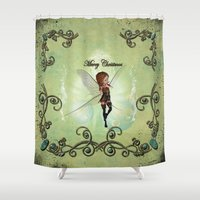 elf Shower Curtains featuring Christmas elf by nicky2342