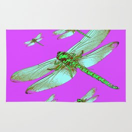 PANTENE ULTRA VIOLET PURPLE EMERALD DRAGONFLIES ART Rug