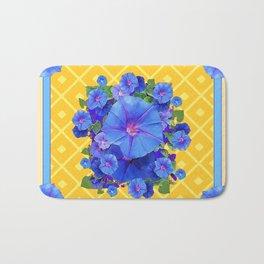 Blue Morning Glories & Gold  Patterns Art Bath Mat