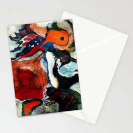 Orange Abstract Art / Surrealist Painting Stationery Cards