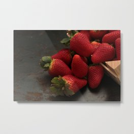 Whole straberries in a wooden box. Metal Print