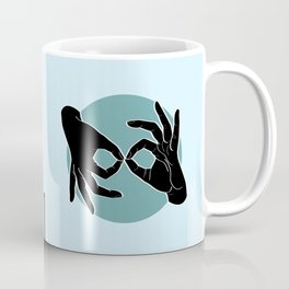 Sign Language (ASL) Interpreter – Black on Turquoise 03 Coffee Mug