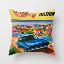 1970 Vintage Hot Wheels Redline Action City Center Poster Throw Pillow