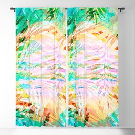Happy Jungle Daydream - Colorful Tropical Watercolor Leaves Blackout Curtain
