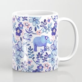 Pale Coral, White and Purple Elephant and Floral Watercolor Pattern Coffee Mug