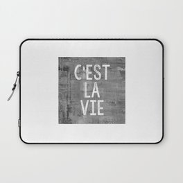 Cest La Vie French Quote That's Life Grey Grunge Laptop Sleeve