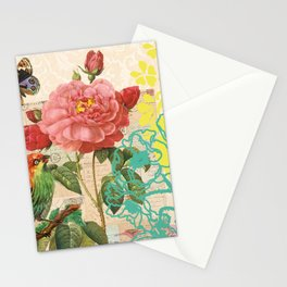 A rose with a bird and a butterfly Stationery Cards