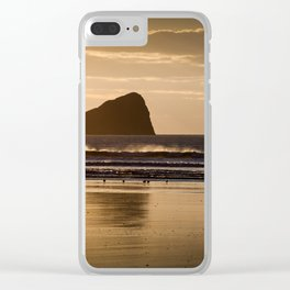 Rhossili beach and Worms Head Clear iPhone Case