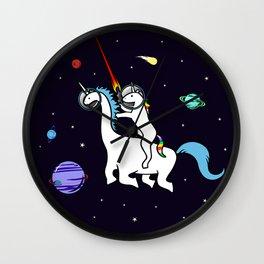 Unicorn Riding Dinocorn In Space Wall Clock