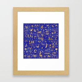 Ancient Egyptian hieroglyphs -Lapis Lazuli and Gold Framed Art Print