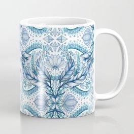 Lily, Leaf & Triangle Pattern – blues Coffee Mug