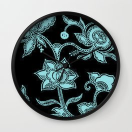 Vintage Floral Island Paradise and Black Wall Clock