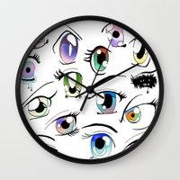 manga Wall Clocks featuring Manga Eyes by TAEMI.