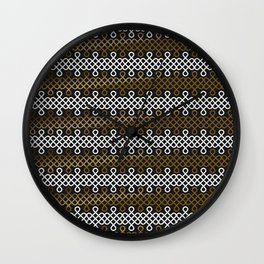 Endless Knot pattern - Gold & white Wall Clock