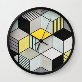Colorful Concrete Cubes 2 - Yellow, Blue, Grey Wall Clock