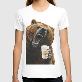 """"""" Grizzly Mornings """" give that bear some coffee T-shirt"""
