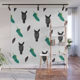 Horse and feathers pattern Wall Mural