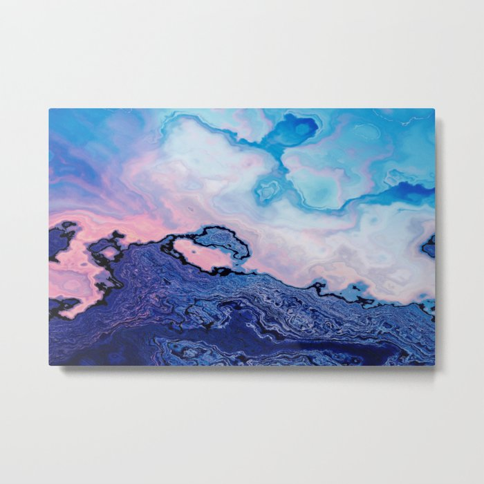 BLUE AND PINK PAINT MIXING Metal Print