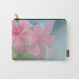 Tender macro shoot of pink hibiscus flowers Carry-All Pouch