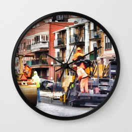 Road roller and asphalt paving machine Wall Clock