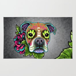 Boxer in White Fawn - Day of the Dead Sugar Skull Dog Rug