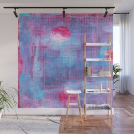 Crimson Clover, Abstract Monoprint Painting Wall Mural