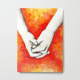 Inky hands22-Holding hands Metal Print