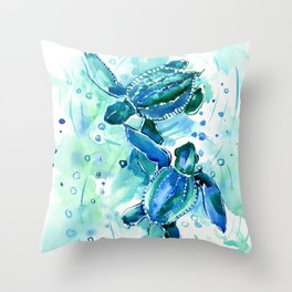 Turquoise Blue Sea Turtles in Ocean Throw Pillow