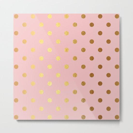 Gold polka dots on rosegold background - Luxury pink pattern Metal Print