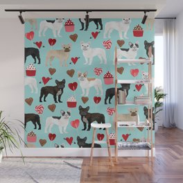 English Bulldog valentines day hearts cupcakes dog pattern gifts dog breeds by pet friendly Wall Mural