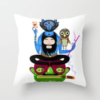 the thing Throw Pillows featuring Thing by Matej