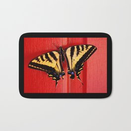 tiger swallowtail butterfly on unusual background Bath Mat