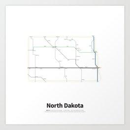 Highways of the USA – North Dakota Art Print