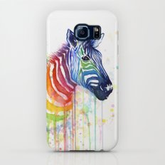 Zebra Rainbow Watercolor Whimsical Animal Galaxy S6 Slim Case