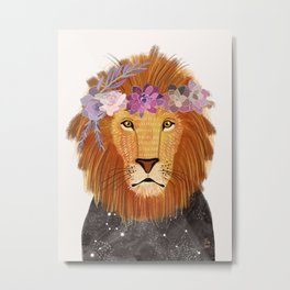 Lion with flowers on head Metal Print
