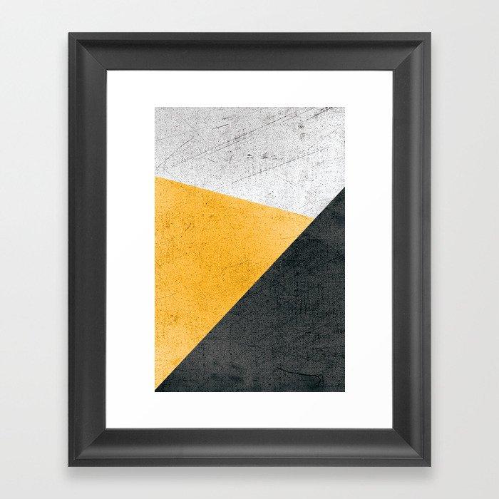 Modern Yellow & Black Geometric Gerahmter Kunstdruck