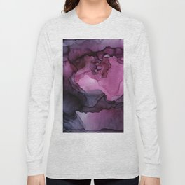 Abstract Ink Painting Ethereal Flowing Watercolor Nebula Long Sleeve T-shirt