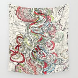 Beautiful Vintage Map of the Mississippi River Wall Tapestry