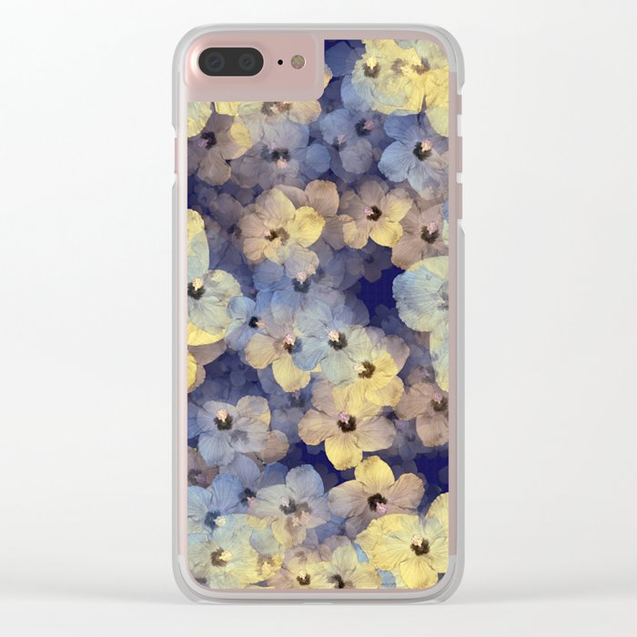 Floral Mauve-Blue-Yellow Clear iPhone Case