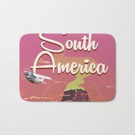 Take a Trip to South America vintage cartoon poster Bath Mat