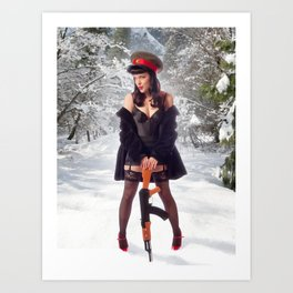 """Sovietsky on Ice"" - The Playful Pinup - Russian Theme Pin-up Girl in Snow by Maxwell H. Johnson Art Print"