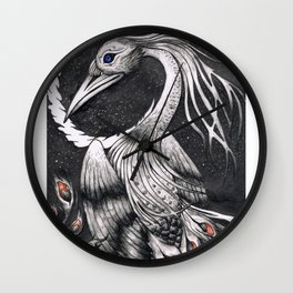 Nocturnal Black Swan-Peacock Wall Clock