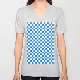 Small Checkered - White and Dodger Blue Unisex V-Neck