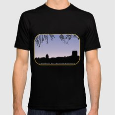 Madison, WI skyline across University Bay at sunrise Mens Fitted Tee X-LARGE Black